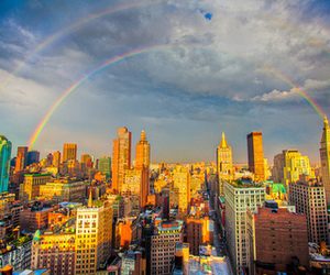 rainbow, city, and photography image