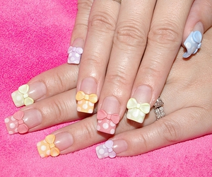 nails, bow, and nail art image