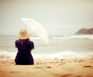 girl, beach, and umbrella image