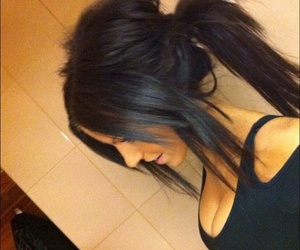 hair, black, and ponytail image