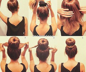 chignon, hair style, and curly hair image