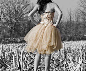 black and white, dress, and photography image