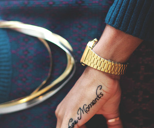 tattoo, gold, and watch image