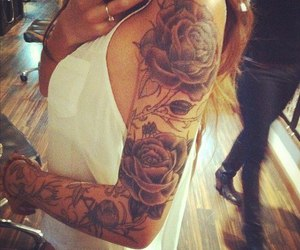tattoo, rose, and sleeve image