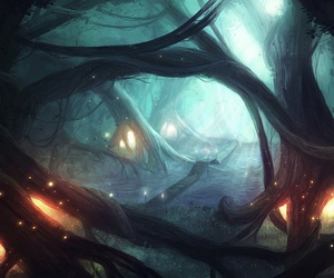 forest, illustration, and lights image