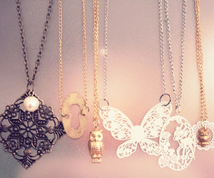 necklace, butterfly, and jewelry image