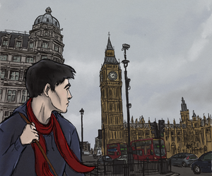 art, merlin, and colin morgan image
