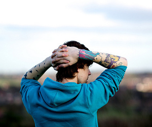 boy, tattoo, and blue image
