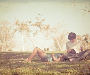 couple, grass, and light image