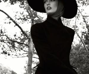 black and white, girl, and hat image
