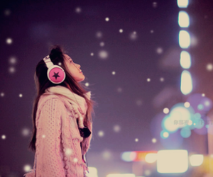 girl, night, and snow image