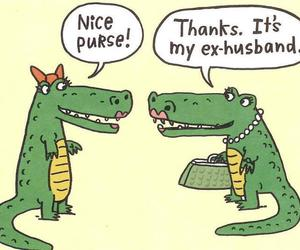 funny, purse, and crocodile image