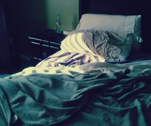 bed, bedroom, and green image