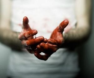 blood, hands, and photo image