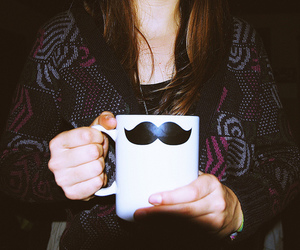 mustache, girl, and cup image
