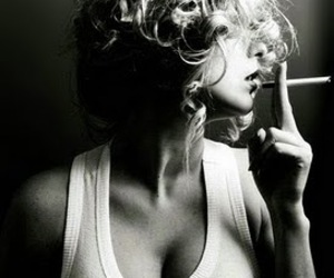 blonde, boobs, and smoke image