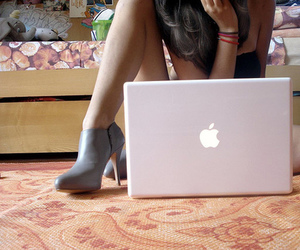 girl, apple, and shoes image