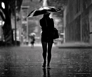rain, girl, and black and white image