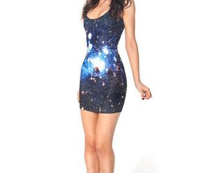 blue, fashion, and galaxy dress image