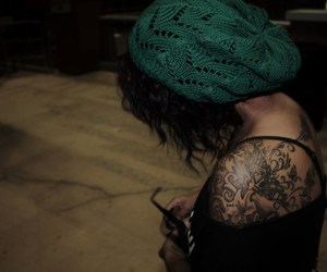 girl, tattoo, and hat image