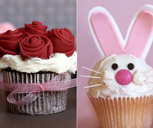 cupcake, roses, and rabbit image