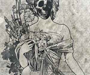 Art Nouveau and skull image