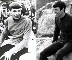 black and white, spock, and star trek image