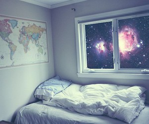room, galaxy, and bed image