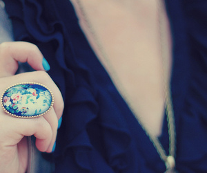 ring, blue, and flowers image