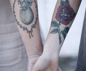 couple, rose, and tattoo image