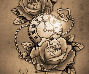 tattoo, rose, and clock image