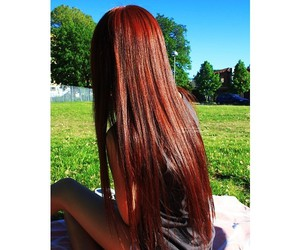 girl, long hair, and red image