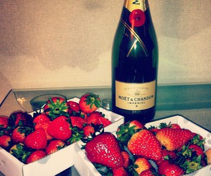 strawberry, moet, and champagne image