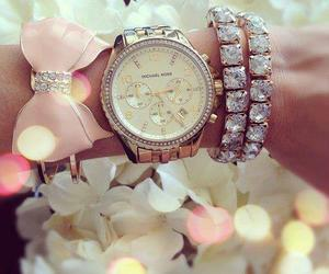 watch, bracelet, and pink image