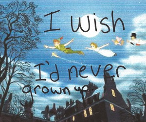 never, peter pan, and text image