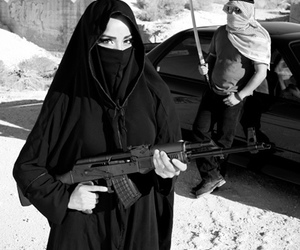 arab, assault rifle, and black and white image