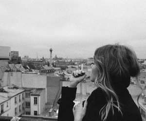 black and white, cigarette, and city image