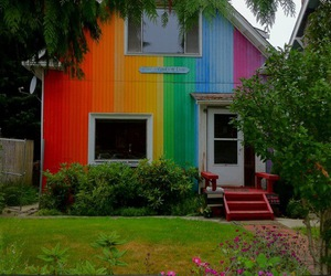 awesome, house, and rainbow image