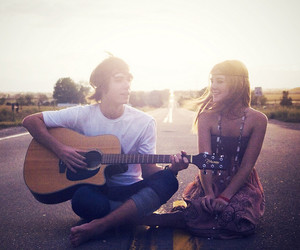 love, guitar, and couple image