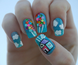 ballons, nails, and house image