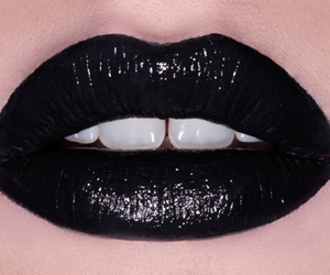 black, lips, and lipstick image
