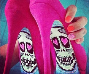 shoes, pink, and skull image