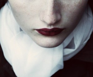 girl, eyes, and red lips image
