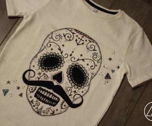 clothes, headskull, and handpainted image