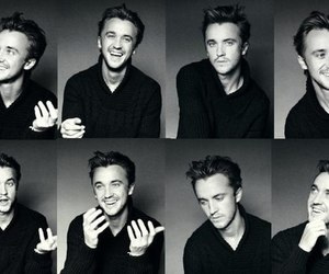 tom felton, black and white, and boy image