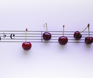 cherry, music, and fruit image