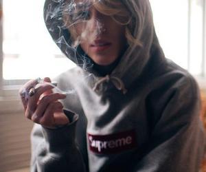 girl, smoke, and supreme image