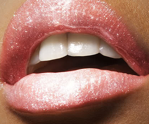 lips, pink, and glitter image