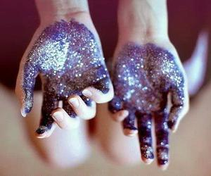 hands, stardust, and purple image