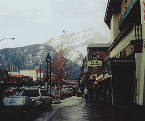 mountains, street, and snow image